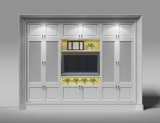 衣柜, 衣橱, 盆景, 植物, 边柜, 装饰柜, 电视背景墙