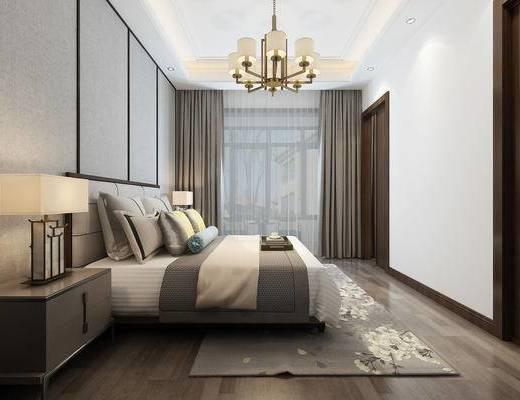 中式卧室, 主卧, 中式吊灯, 双人床组合, 床具, 床头柜