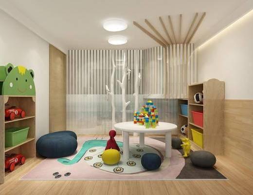 儿童玩耍区, 玩具, 置物架, 台子, 现代
