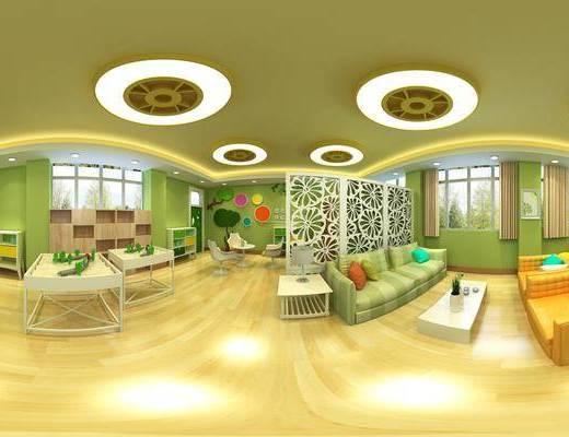 幼儿园, 多人沙发, 茶几, 单人椅, 书桌, 装饰柜, 装饰画, 挂画, 墙饰, 摆件, 装饰品, 陈设品, 现代