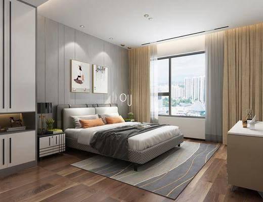 卧室, 床具组合, 边柜组合, 现代