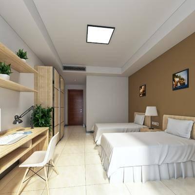 酒店客房, 现代酒店客房, 床具组合, 现代, 书桌, 单椅, 书架, 置物架, 植物, 盆栽