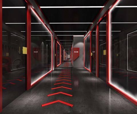红色科技, 健身房过道, 走廊过道, 现代