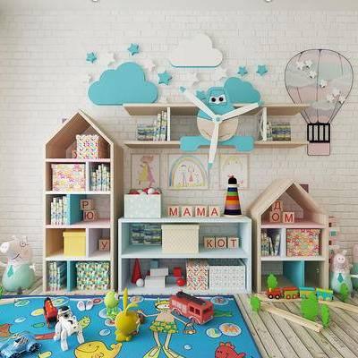 现代简约, 玩具组合, 柜组合, 置物柜, 陈设品组合