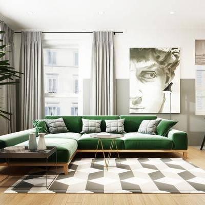 客厅, 餐厅, 现代客餐厅, 沙发组合, 多人沙发, 茶几, 植物, 盆栽, 吧椅, 吧台, 餐桌, 椅子, 桌椅组合, 吊灯, 单椅, 挂画, 摆件, 装饰品, 厨具, 橱柜, 洗手台, 现代