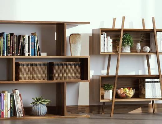 置物架, 摆件组合, 书柜, 书籍