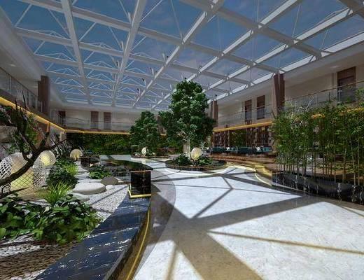露台大厅, 树木, 绿植植物, 现代