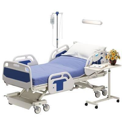 医院病床, 医疗器械, 医疗床, 花瓶花卉, 书籍, 现代