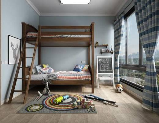 美式儿童房, 儿童房, 美式, 现代, 双层床, 上下床, 玩具, 棒球, 积木, 篮球, 足球
