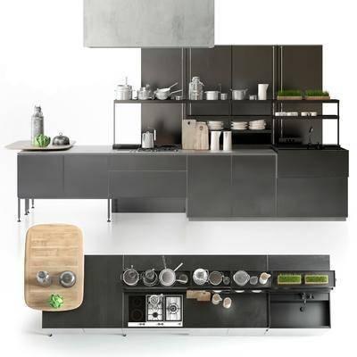 橱柜, 厨具, 摆件, 器皿, 瓷器, 碗碟, 植物, 盆栽, 现代