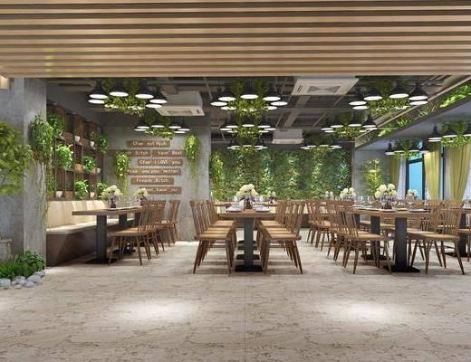 餐厅, 工业风餐厅, 桌椅组合, 餐桌, 植物, 绿植, 盆栽, 吊灯, 工业风