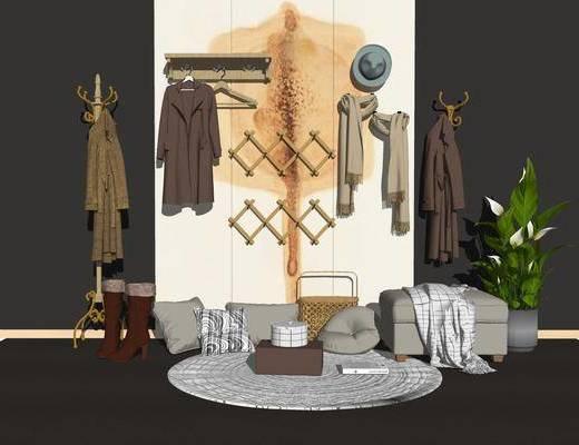 衣架, 服饰, 盆栽植物