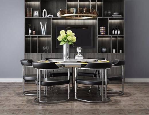 餐桌椅组合, 装饰柜组合, 餐具组合, 装饰柜, 摆件组合, 新中式