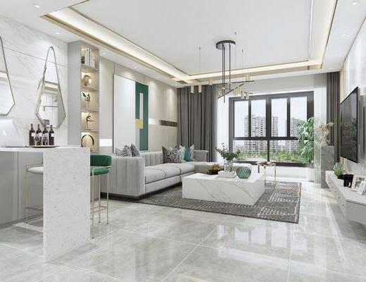 現代客廳, 客廳, 餐廳, 餐桌椅, 沙發組合