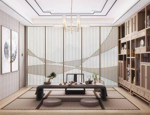 茶室, 桌椅组合, 吊灯, 置物柜, 装饰画
