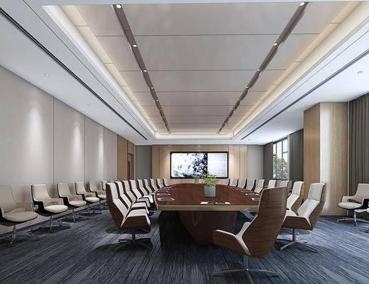 会议室, 桌椅组合, 摆件组合