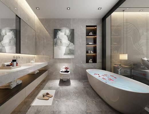衛生間, 浴室柜, 浴缸, 洗手臺組合, 新中式
