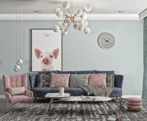 双人沙发, 茶几, 吊灯, 休闲椅, 摆件