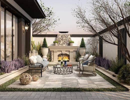欧式花园, 欧式庭院, 花园, 庭院, 户外花园