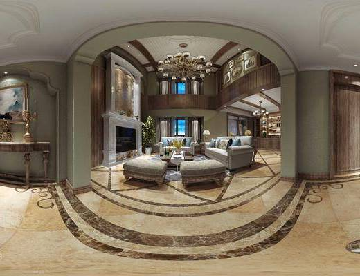 美式, 客厅, 沙发, 多人沙发, 壁炉, 吊灯, 茶几