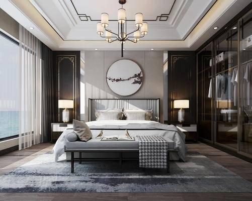 双人床, 床尾凳, 背景墙, 吊灯, 衣柜, 挂画