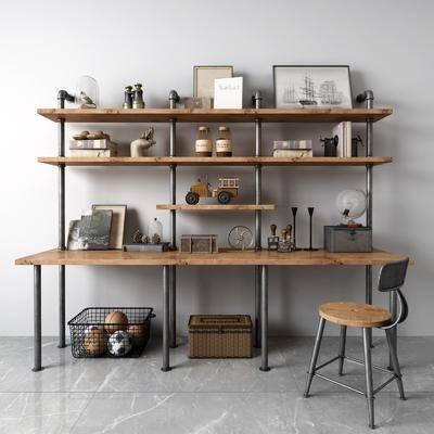 书架, 书桌, 书籍, 摆件组合, 单椅