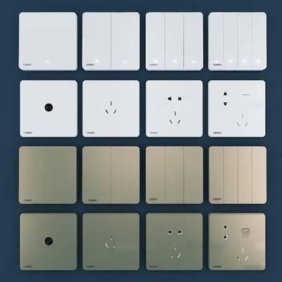 插座, 开关, 电源开关, 电源插座, 构件