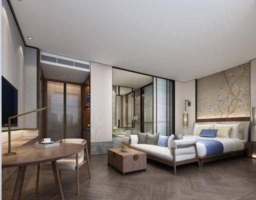 新中式, 酒店, 客房, 双人床