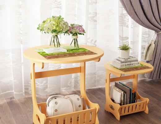 茶几, 圆几, 花瓶, 植物, 书籍, 边几