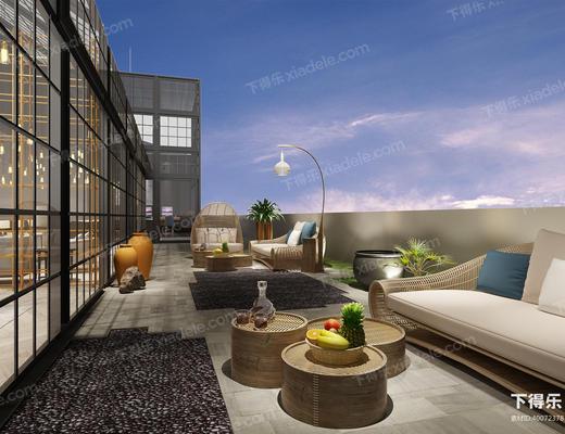 阳台, 景观, 室外, 沙发组合, 沙发茶几组合