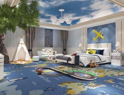 儿童房, 卧室, 双人床, 床头柜, 台灯, 墙饰, 多人沙发, 电视柜, 边柜, 树木, 绿植植物, 凳子, 玩具, 玩偶, 吊灯, 简欧