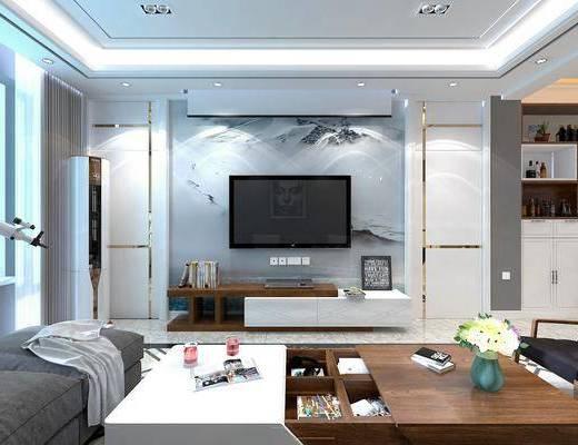 现代, 客餐厅, 多人转角沙发, 单人沙发, 边几, 壁灯, 茶几, 挂画, 餐桌椅, 厨房, 边柜