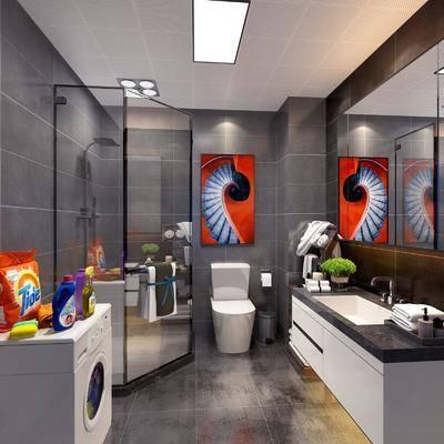 卫生间, 马桶, 前台, 装饰镜, 洗衣机, 装饰画, 挂画, 花洒, 现代