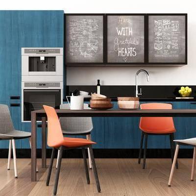 厨房, 橱柜, 餐桌, 餐椅, 休闲椅, 摆件, 装饰画, 厨具, 北欧