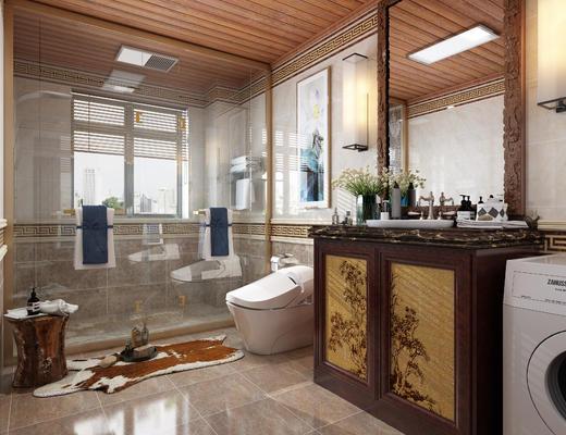 新中式, 卫生间, 淋浴间, 洗衣机