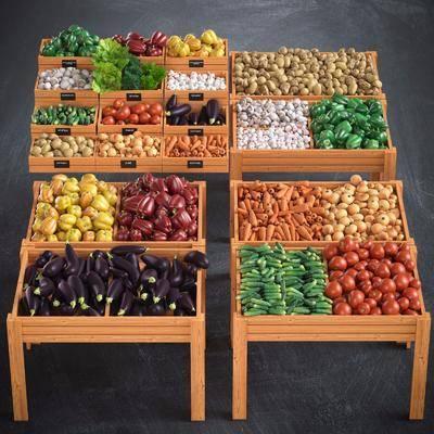 现代蔬菜水果陈列架组合, 现代, 蔬菜, 水果, 食物, 植物, 货架