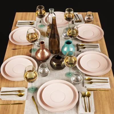 餐具, 碗碟, 摆件组合, 酒杯