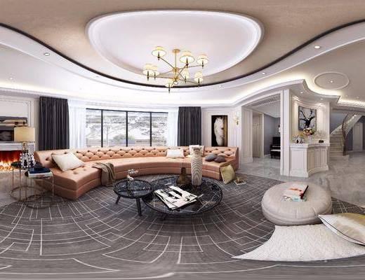 客厅, 餐厅, 多人沙发, 圆弧沙发, 茶几, 脚踏沙发, 吊灯, 餐桌, 餐椅, 单人椅, 餐具, 边几, 台灯, 欧式