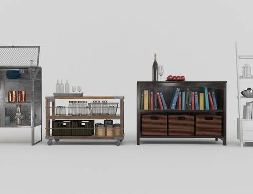 边柜, 摆件组合, 书籍