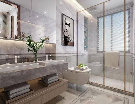 浴室, 卫生间, 马桶, 洗手台, 装饰画, 挂画, 摆件, 装饰品, 陈设品, 现代