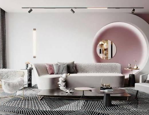 沙发组合, 茶几, 抱枕, 单椅, 墙饰