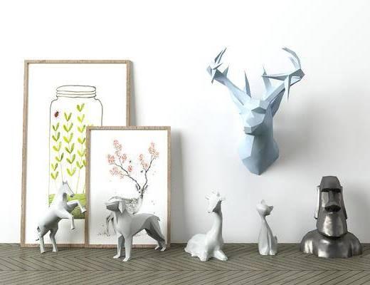 现代, 简约, 北欧, 几何, 装饰品, 装饰画, 摆件, 鹿角, 动物