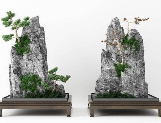 假山松树, 园艺小景, 园艺小品, 新中式