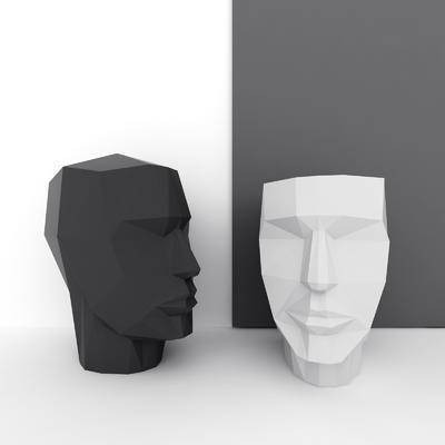 人脸雕塑, 雕塑雕刻, 摆件组合, 现代