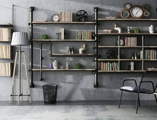 工业风置物架组合, 工业风, 置物架, 书本, 植物, 椅子, 落地灯