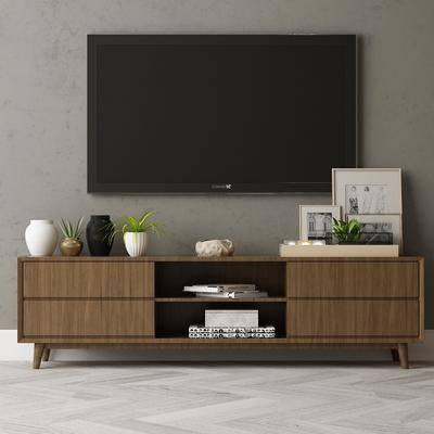 现代电视柜, 摆件, 电视