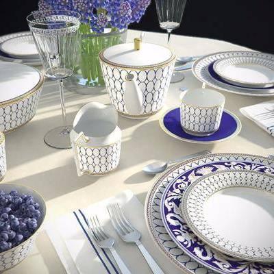 现代餐具餐桌组合, 现代, 餐具, 花瓶, 碗筷