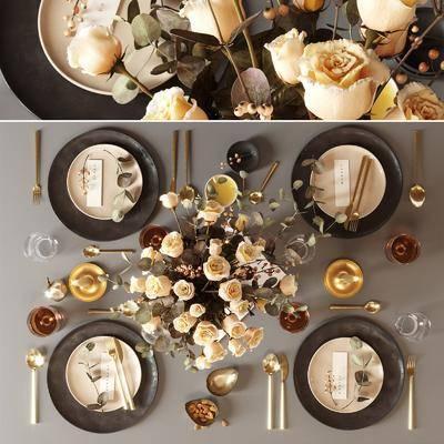 餐具, 食物, 花卉摆件, 蜡烛台, 酒水, 餐桌组合