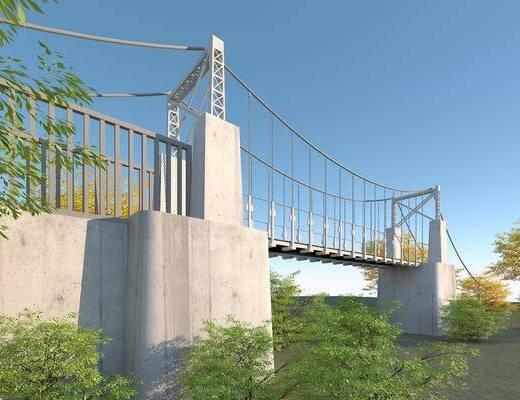 悬索桥, 景观园林, 吊索