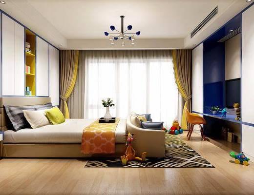 儿童房, 床具, 双人床, 床头柜, 置物柜, 衣服, 书柜, 书桌, 单椅, 椅子, 玩具, 地毯, 摆件, 装饰品, 现代